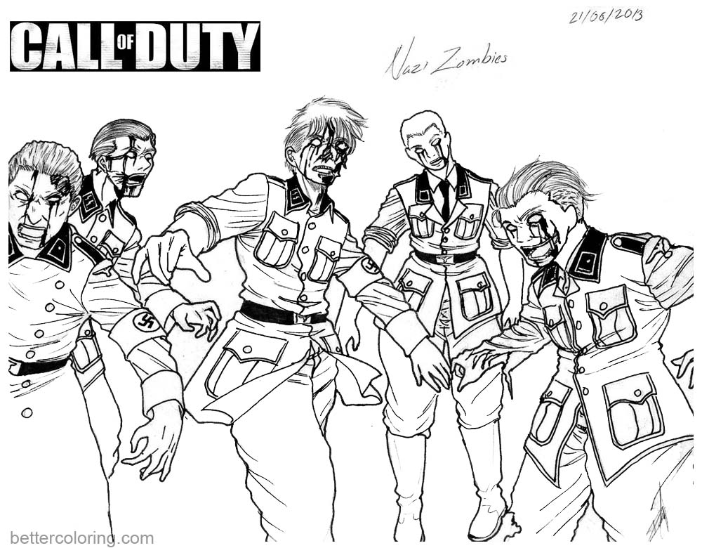 Call of Duty Coloring Pages Zombies