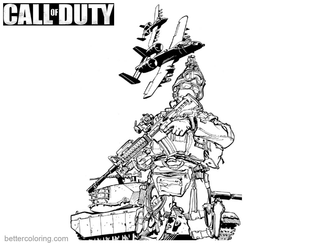 Call of Duty Lineart Coloring Pages printable for free