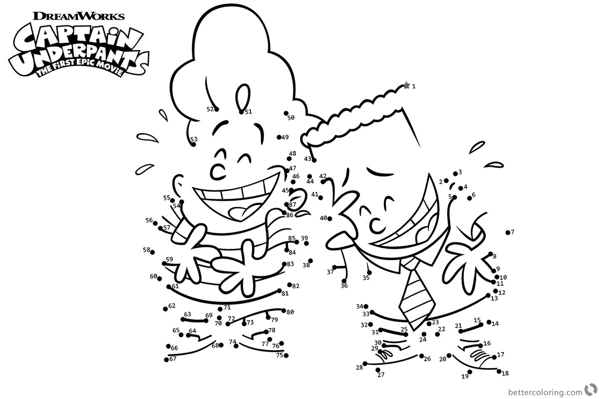 Captain Underpants Coloring Pages Characters Connect the Dots printable for free