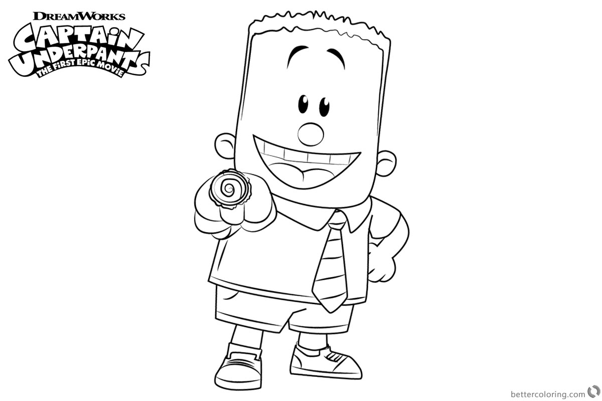 Captain Underpants Coloring Pages Characters George printable for free