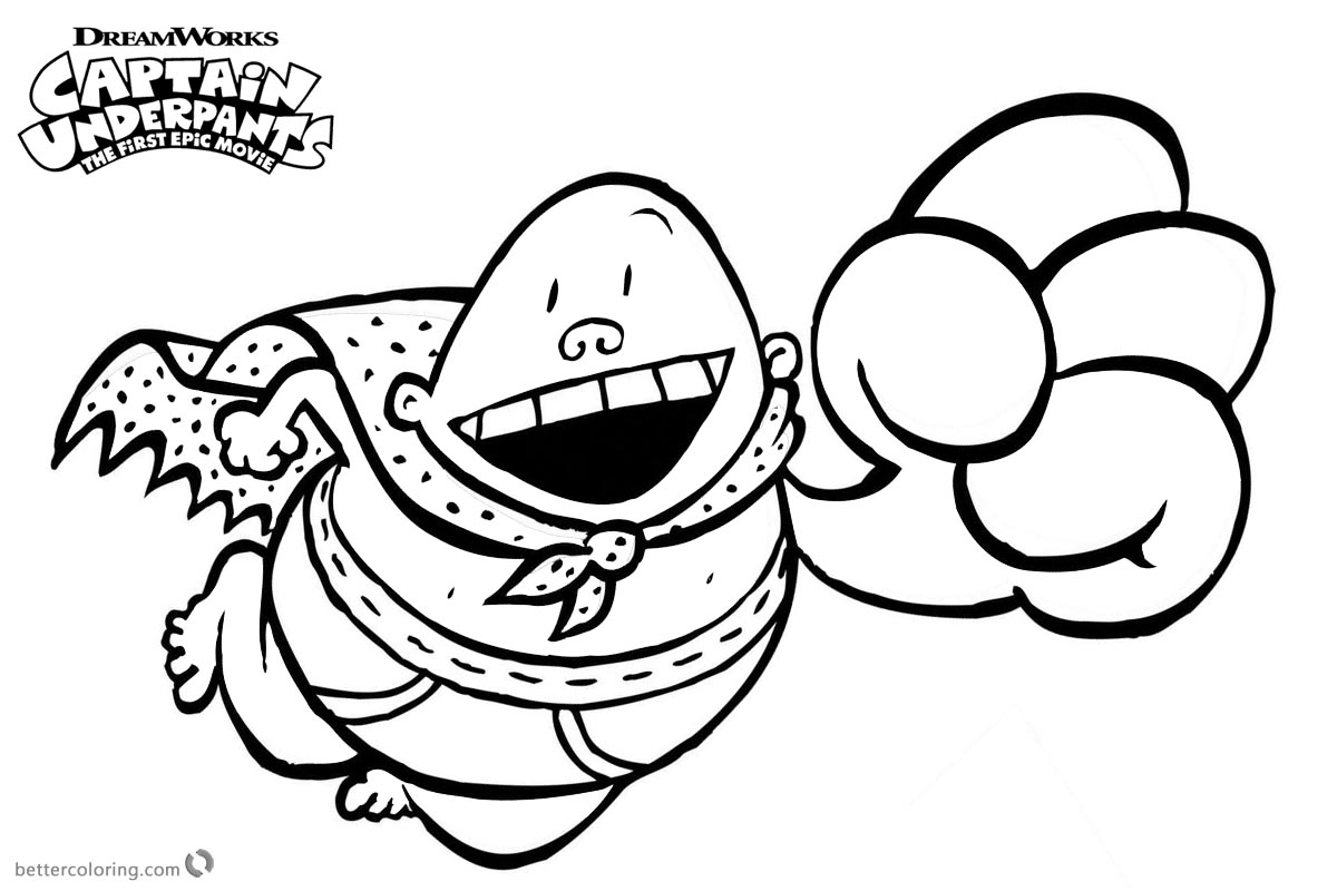 Captain Underpants Coloring Pages Flying with Big Smile printable for free