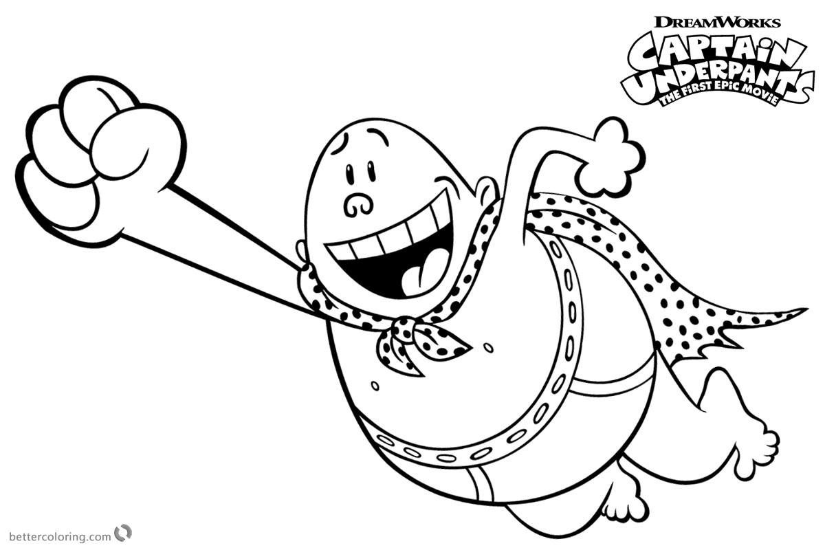 Captain Underpants Coloring Pages Flying printable for free