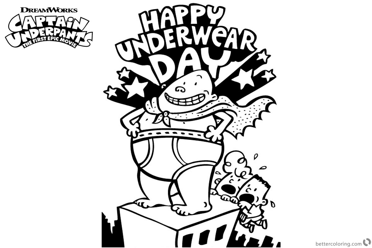 Captain Underpants Coloring Pages Happy Underwear Day printable for free