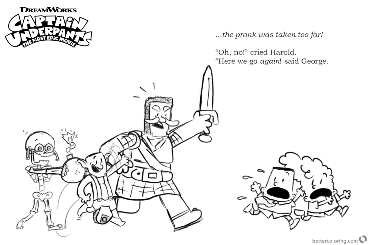 Captain Underpants Coloring Pages Little Crossover printable for free
