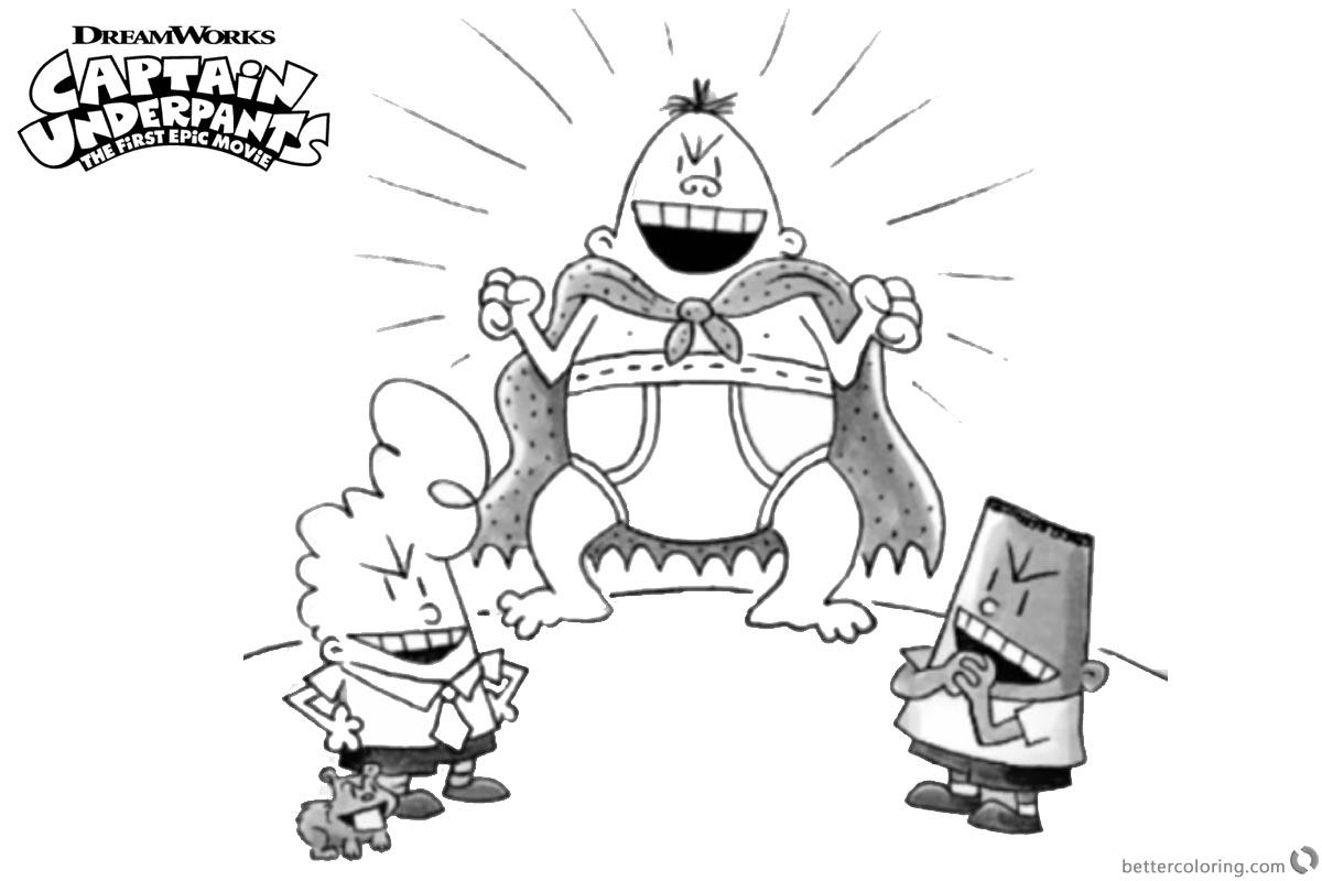 Captain Underpants Coloring Pages Nice Krupp Captain Blunderpants printable for free