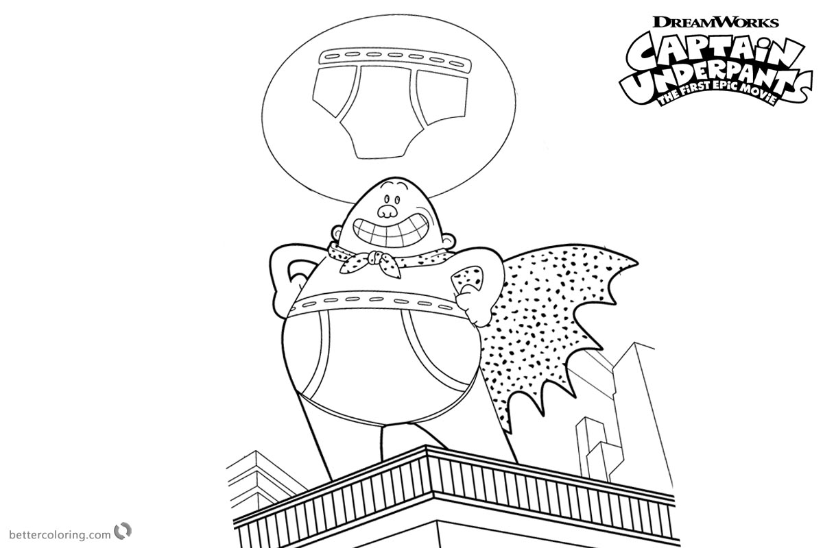 Captain Underpants Coloring Pages On the Building printable for free