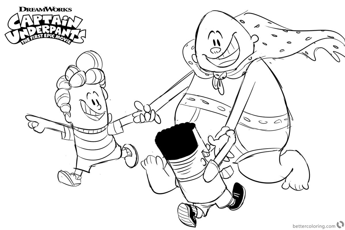 Captain Underpants Coloring Pages Play with George and Harold printable for free