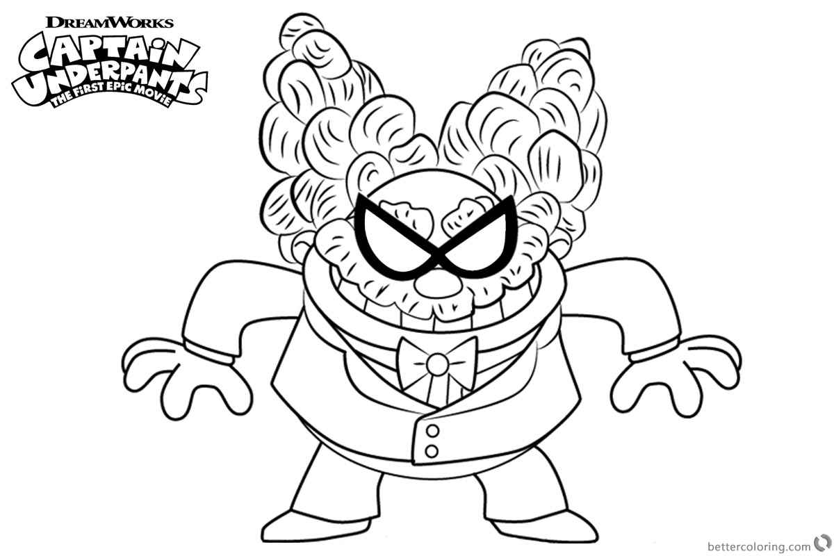 Captain Underpants Coloring Pages Professor Poopypants printable for free