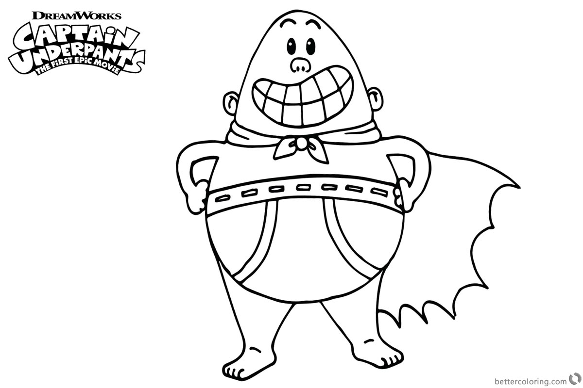 Captain Underpants Coloring Pages Simple Linear printable for free