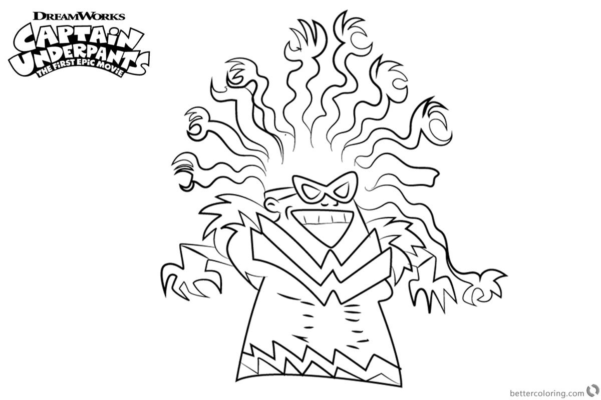 Captain Underpants Coloring Pages Tara Ribble The Adventures of Captain Underpants printable for free