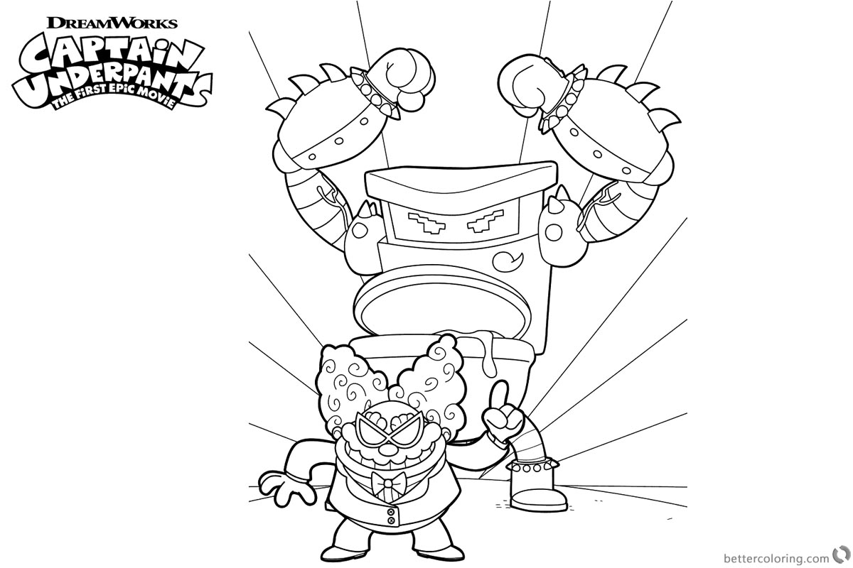 captain underpants coloring pages turbo toilet 2000 and professor