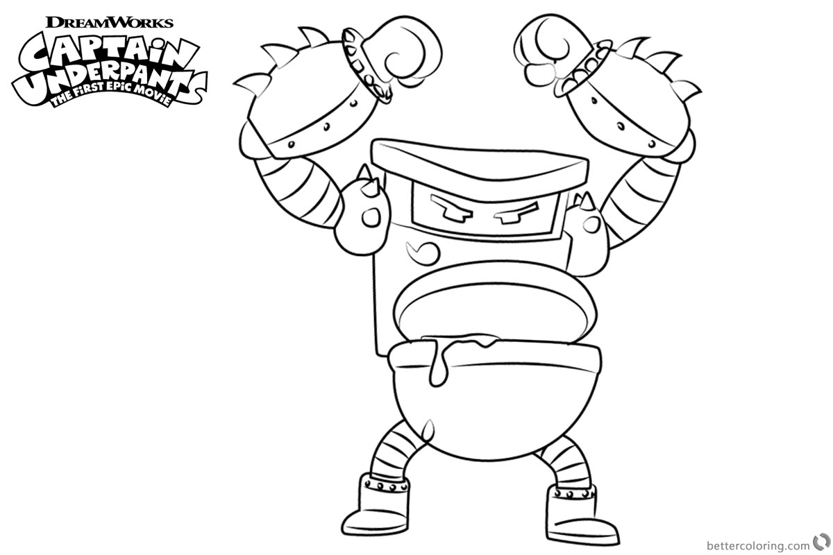 Captain Underpants Coloring Pages Turbo Toilet 2000 printable for free