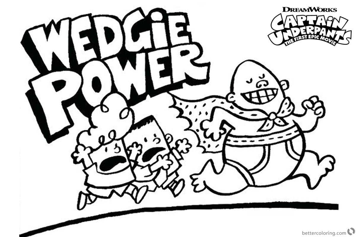 Captain Underpants Coloring Pages Wedgie Power printable for free