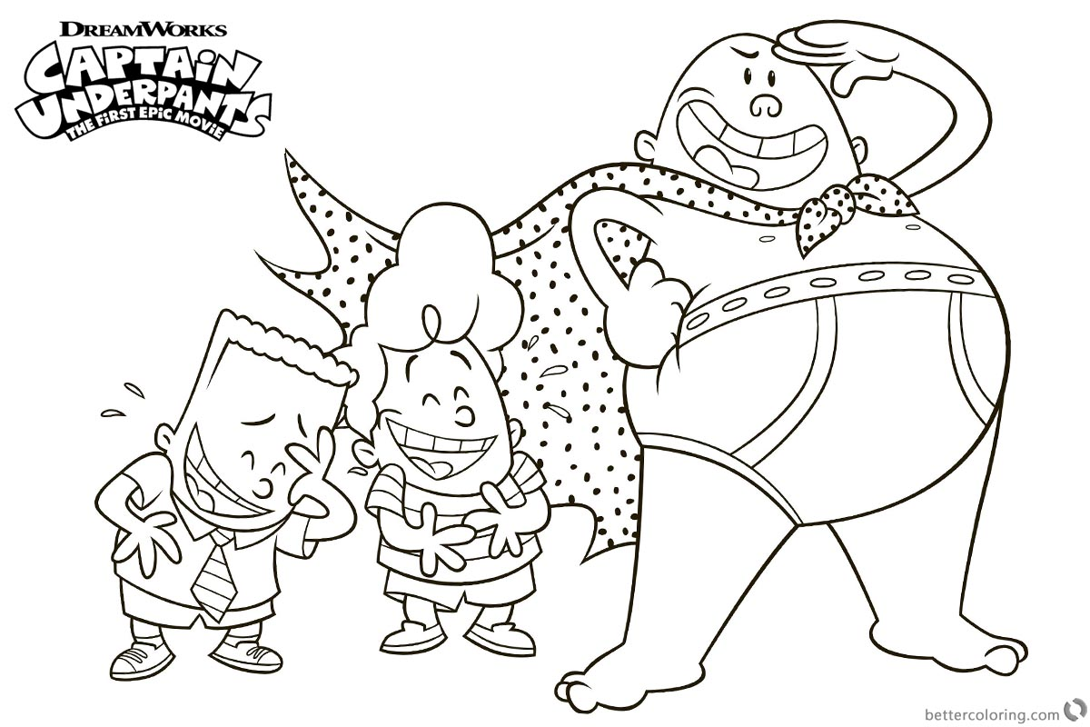Captain Underpants Coloring Pages with George and Harold printable for free