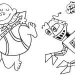 Captain Underpants Coloring Pages with Robot