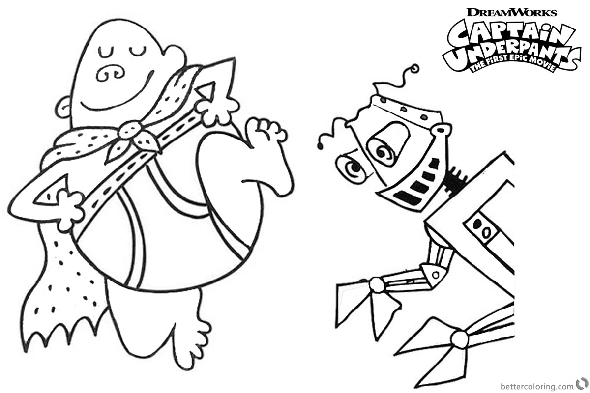 Captain Underpants Coloring Pages with Robot printable for free