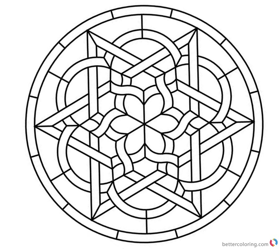 Celtic Knot Coloring Pages Round Stained Glass Panel Free