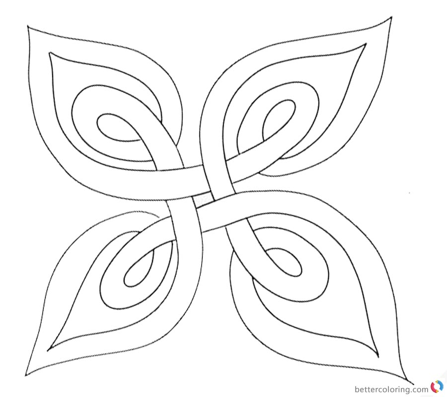 Celtic Knot Coloring Pages Template Plant Leaf Free Printable