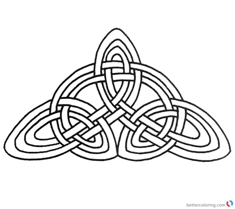 Celtic Knot Coloring Pages Triangle Pattern printable for free