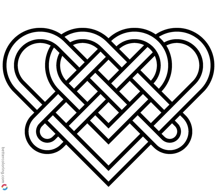 Celtic Knot Coloring Pages Wedding Heart for Love printable for free