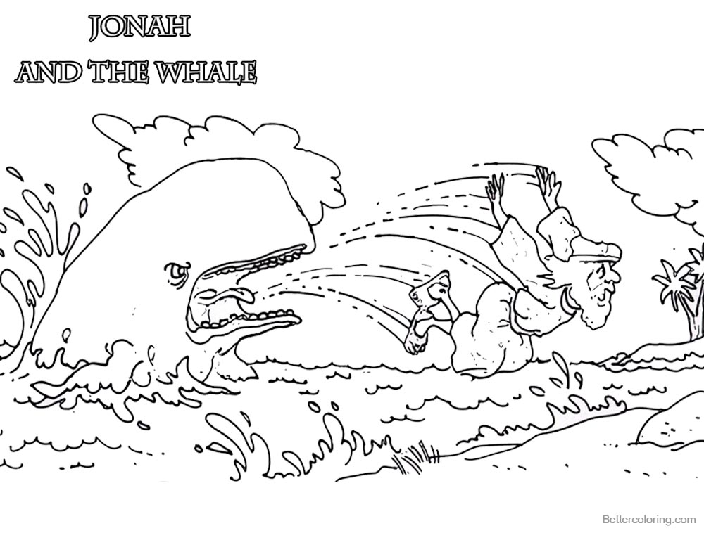 Coloring Pages of Jonah And The Whale Hand Drawing printable for free