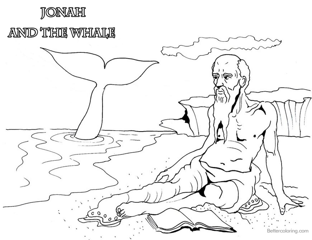 Coloring Pages of Jonah And The Whale Lineart printable for free