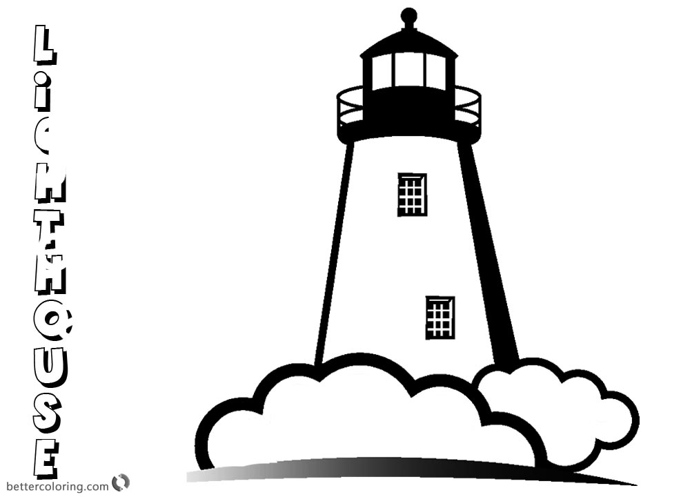 Coloring Pages of Lighthouse Black and White printable for free