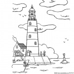 Coloring Pages of Lighthouse Cartoon Clipart