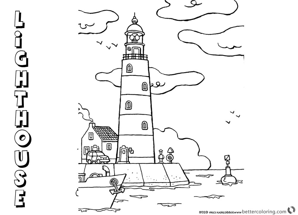 Coloring Pages of Lighthouse Cartoon Clipart printable for free