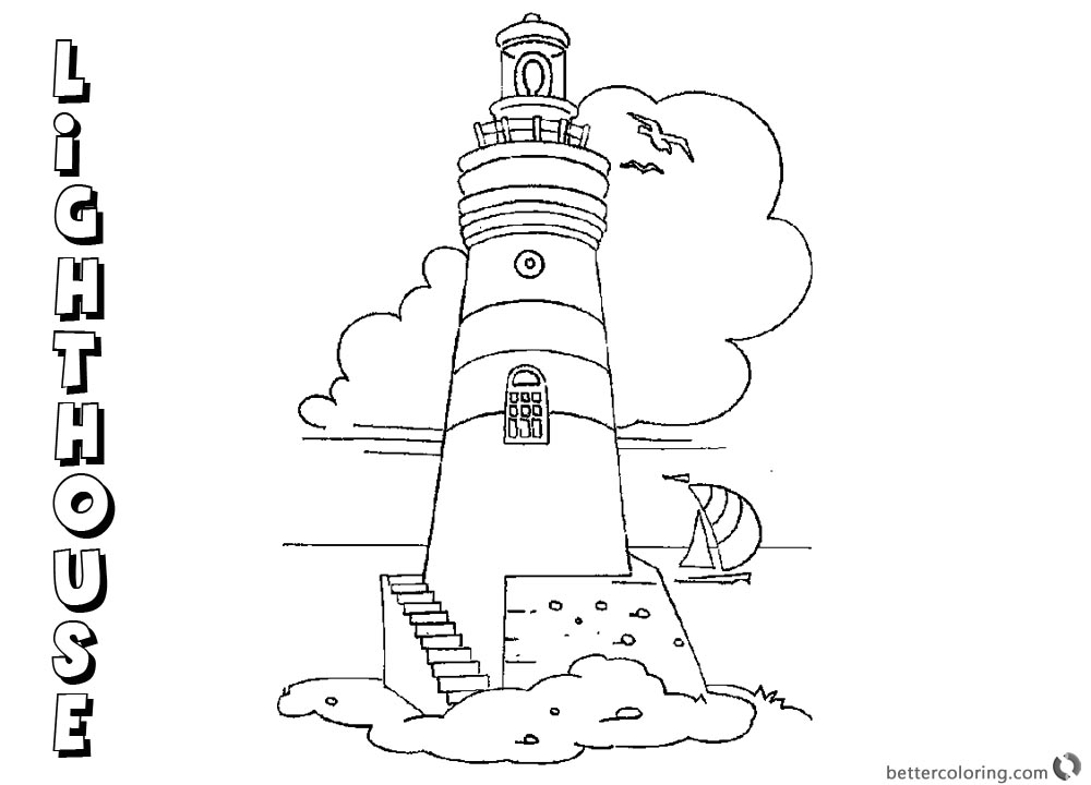 Coloring Pages of Lighthouse Lineart printable for free