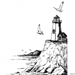 Coloring Pages of Realistic Lighthouse