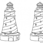 Coloring Pages of Two Lighthouses