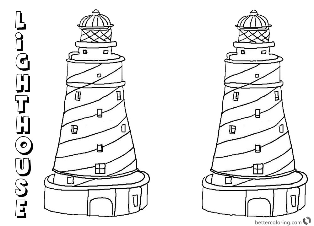 Coloring Pages of Two Lighthouses printable for free