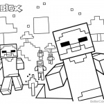 Cute Minecraft Characters of Roblox Coloring Pages