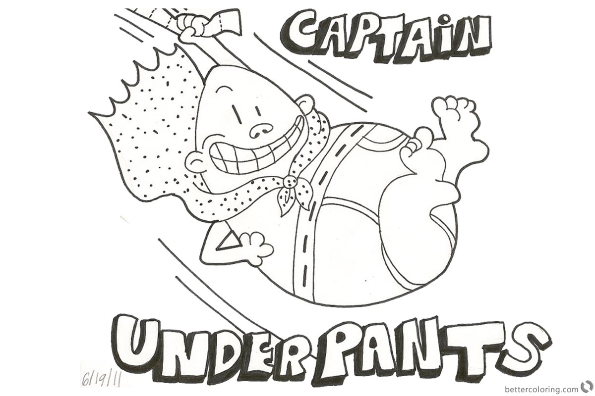 Fan Art of Captain Underpants Coloring Pages printable for free