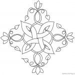 Flowers Celtic Knot Coloring Pages