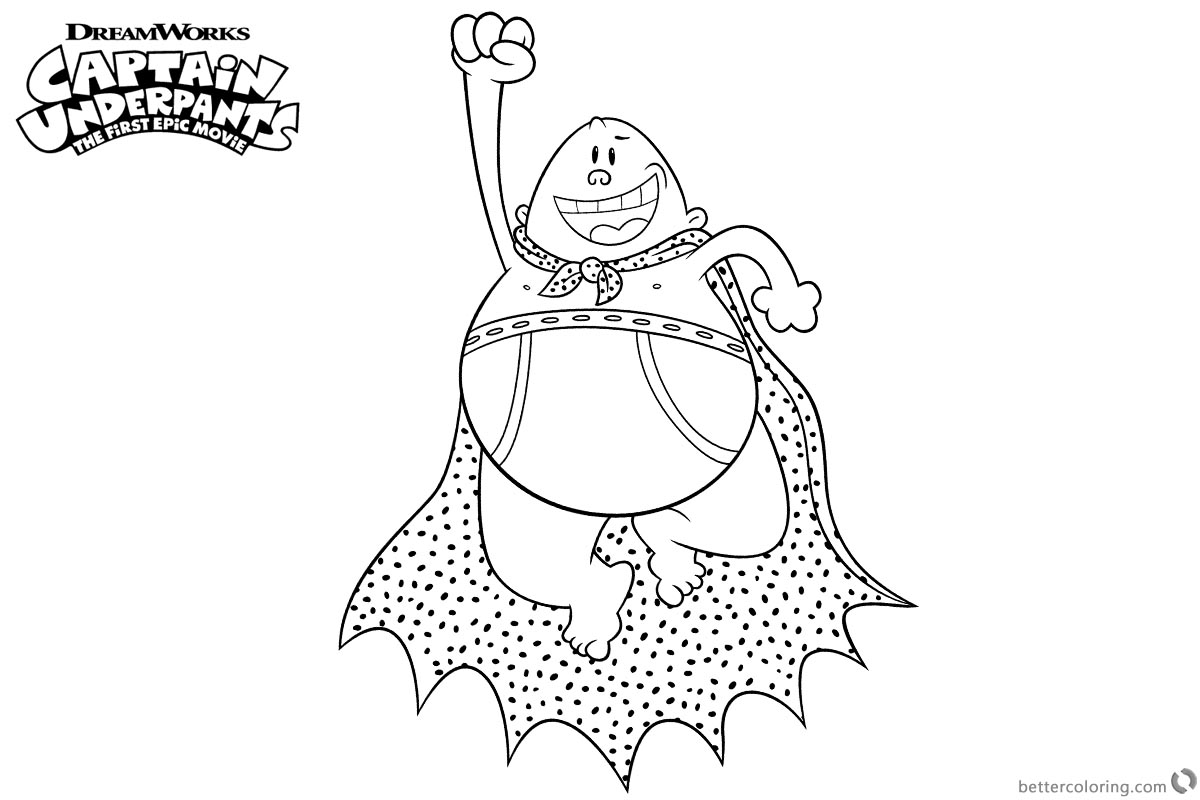 Flying Captain Underpants Coloring Pages printable for free