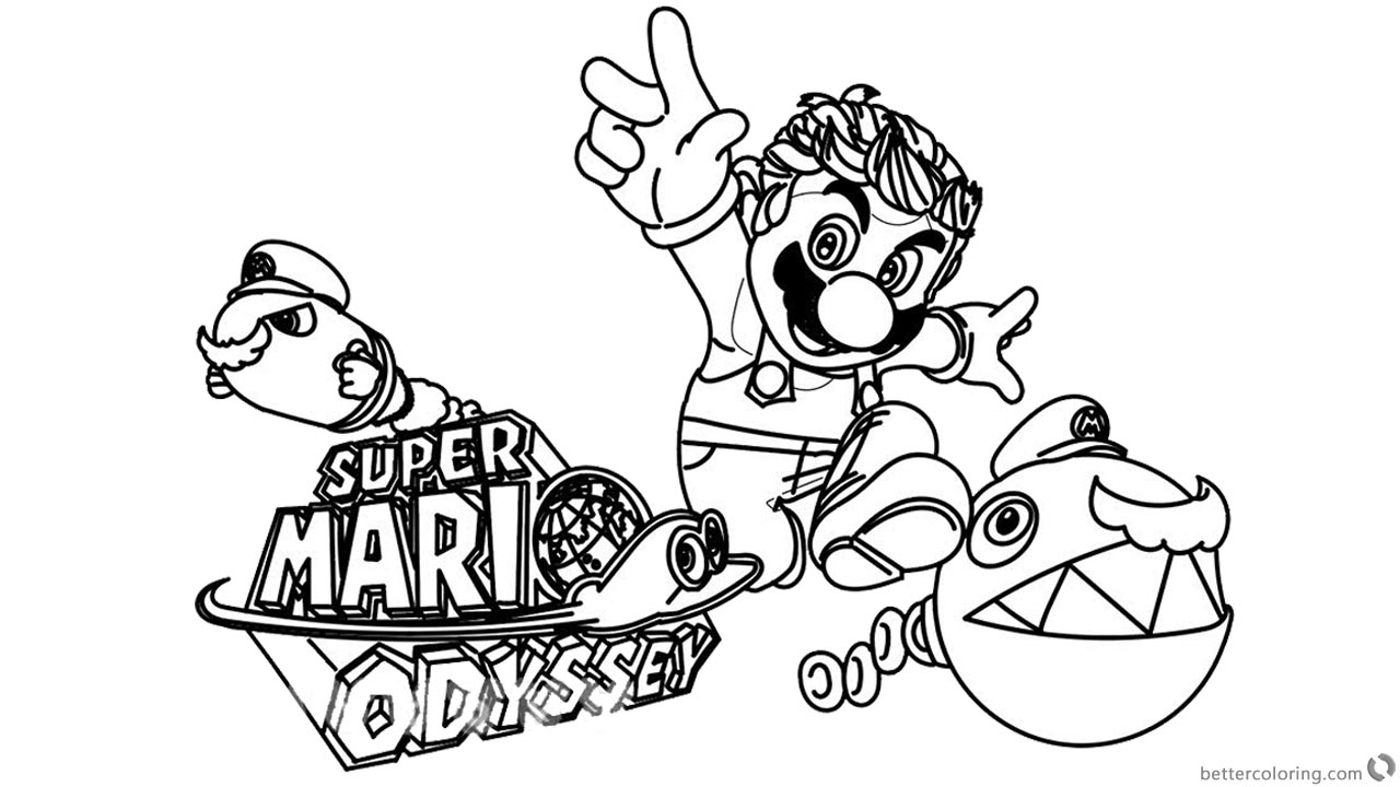 Funny Super Mario Odyssey Coloring Pages Clipart printable for free