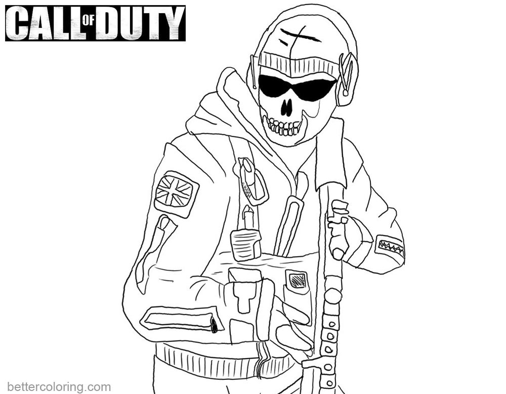 Ghost from Call of Duty Black OPS Coloring Pages printable for free