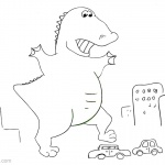 Godzilla Coloring Pages Crushed the Cars