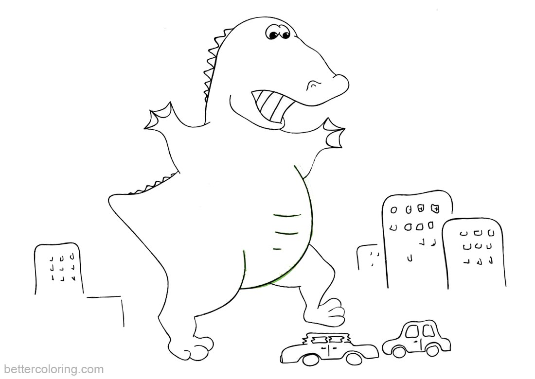 Godzilla Coloring Pages Crushed the Cars printable for free