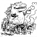 Godzilla Coloring Pages Cute Godzilla with Coffee