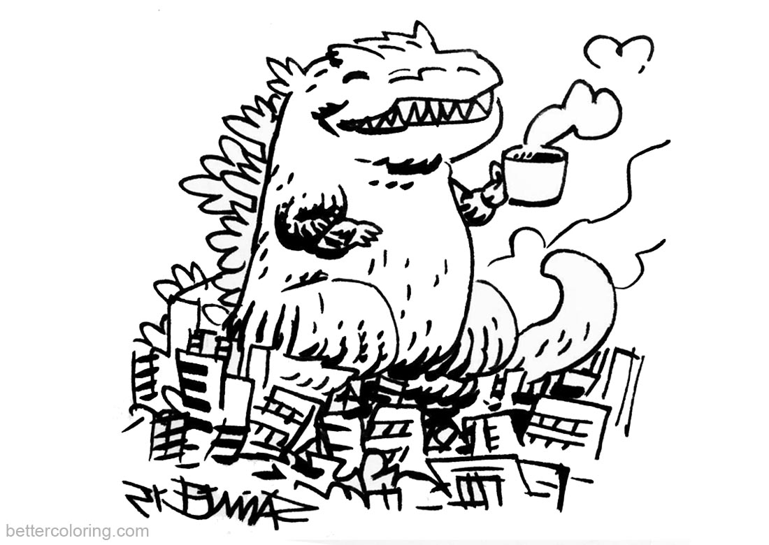 Godzilla Coloring Pages Cute Godzilla with Coffee printable for free
