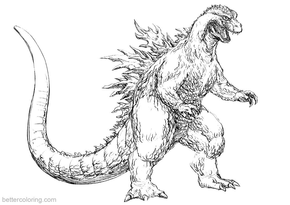 Godzilla Coloring Pages Fan Art Godzilla 2000 Free