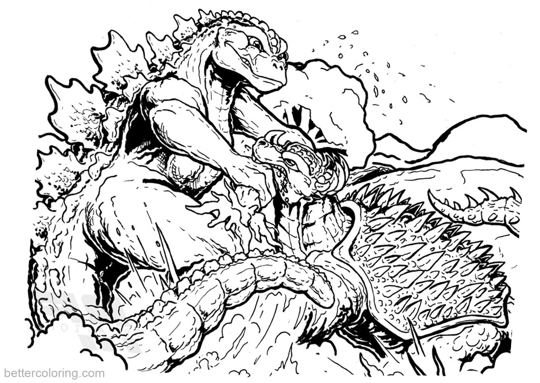 Godzilla Coloring Pages Godzilla vs Anguirusprintable for free
