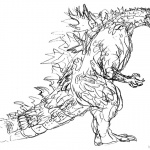 Godzilla Coloring Pages Hand Drawing