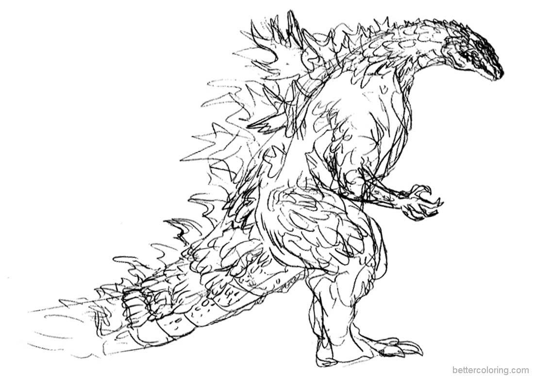 Godzilla Coloring Pages Hand Drawing Free Printable
