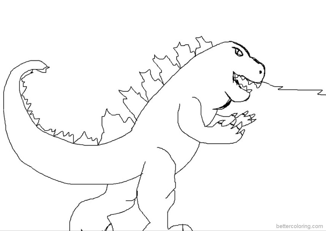 Godzilla Coloring Pages Simple Drawing - Free Printable Coloring Pages