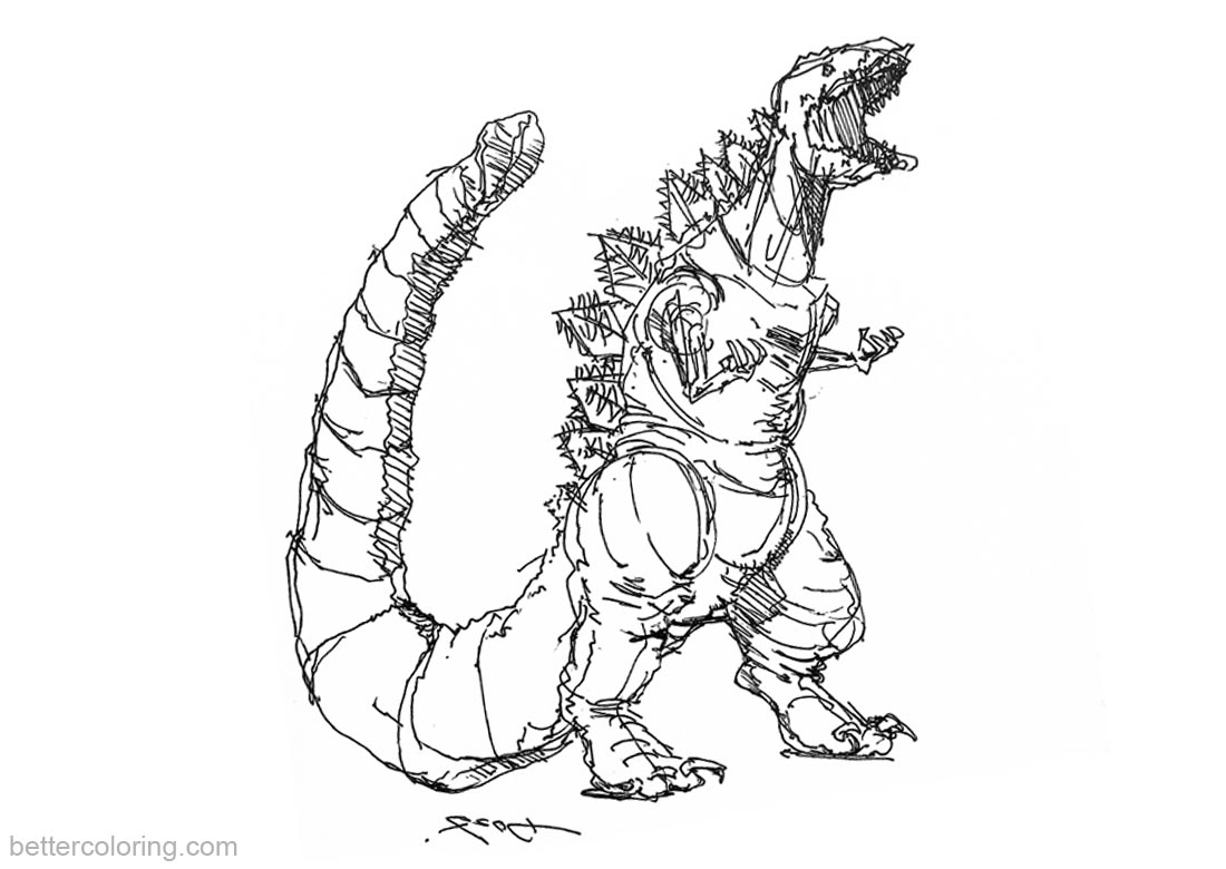 Godzilla Coloring Pages Sketch by kwmt printable for free