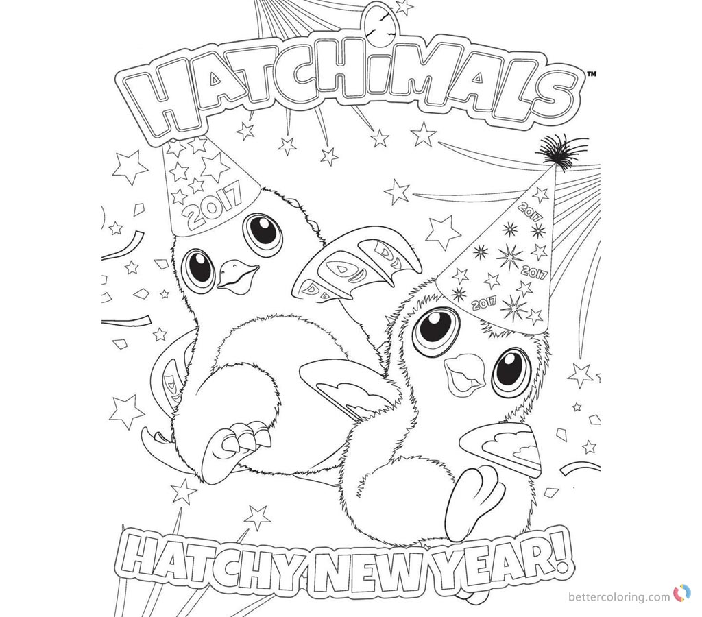 Hatchimals Coloring Pages Happy New Year printable for free